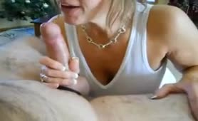 Milf with tremendous tits sucks and rides