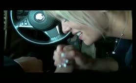 Charming blonde arrangement - cum eat penis massage in the vehicle